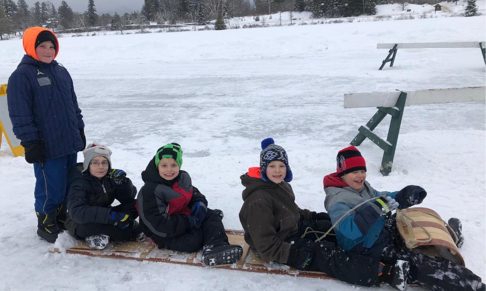 Students sledding